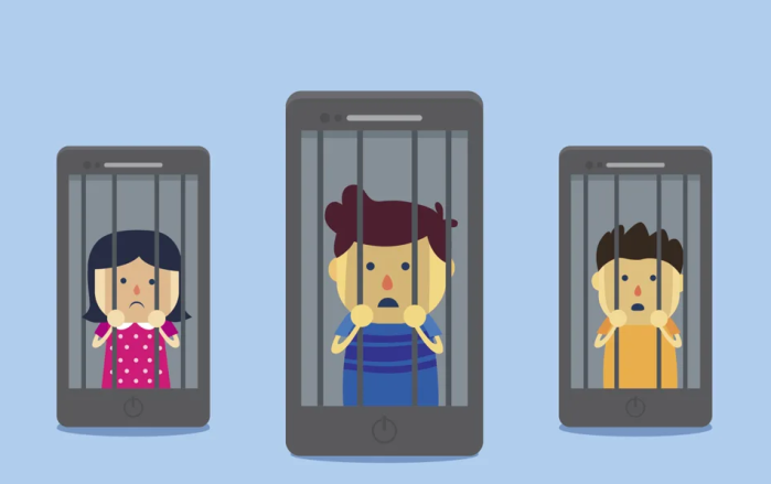 picture of people behind bars on a cell phone